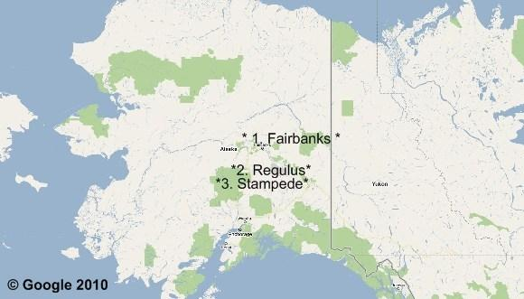 Cartographie 1 : Into The Wild, Le Yukon en stop : 3 destinations : Fairbanks, Regulus et Stampede.
