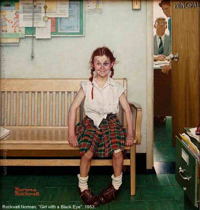 "Image-Peinture, Norman Rockwell (1894 - 1978), ""Girl with a black eye"", 1953. Huile sur toile, 86 x 72 cm."
